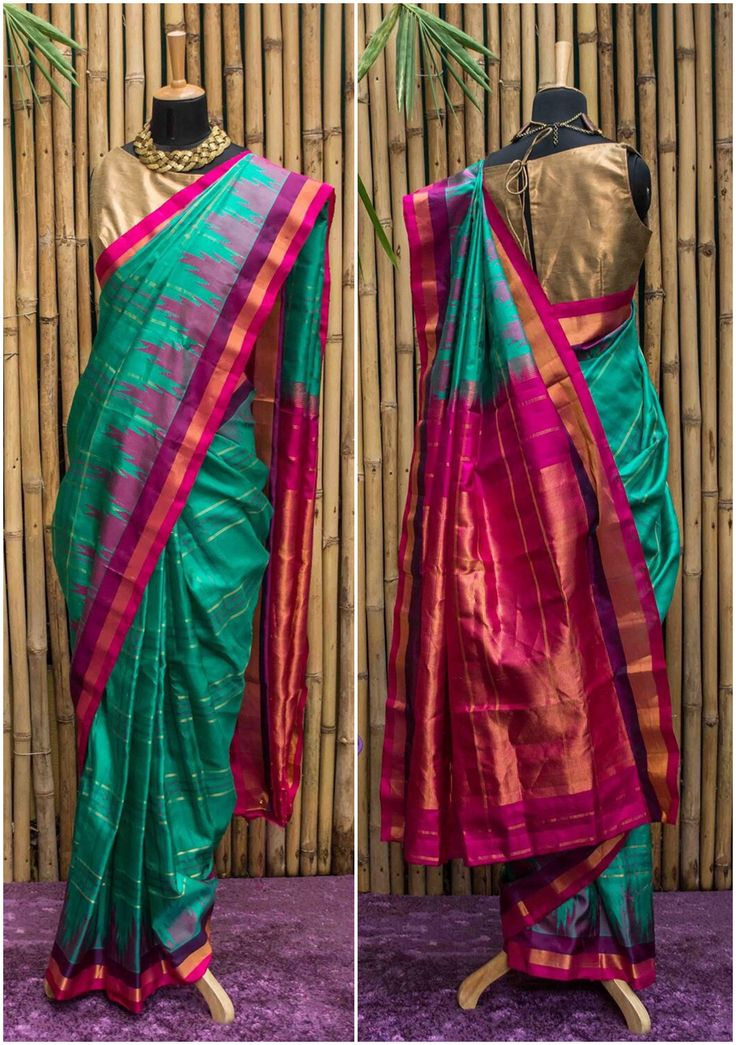Persian green Gadhwal pure silk with pink,orange, purple border | House Of Blouse