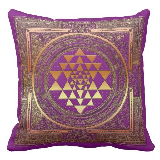 Throw Pillow yoga yantra symbol gold ornament