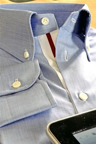 "Celeste Shirt, Men's, Color Celeste White and Red, Model ""Alamo"", Shirt Tailor - $159"