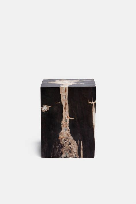 Collected by The Line — Petrified Wood Block Stool Marbled — THE LINE