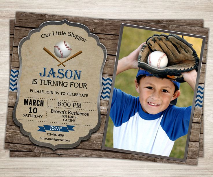 Rustic Baseball Birthday Invitation. Baseball Party Invite. Vintage Baseball Party Photo Invitation. Blue Red Chevron Boy Sports Invitation by TopDigitalArt on Etsy https://www.etsy.com/listing/269645614/rustic-baseball-birthday-invitation
