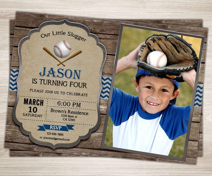 Rustic Baseball Birthday Invitation. Baseball Party Invite. Vintage Baseball Party Photo Invitation. Blue Red Chevron Boy Sports Invitation by TopDigitalArt on Etsy https://www.etsy.com/listing/269645614/rustic-baseball-birthday-invitation