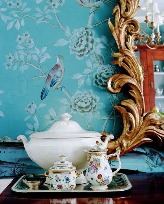 Tea Pots! Turquoise blue chinoiserie wallpaper with birds - Interior design by: