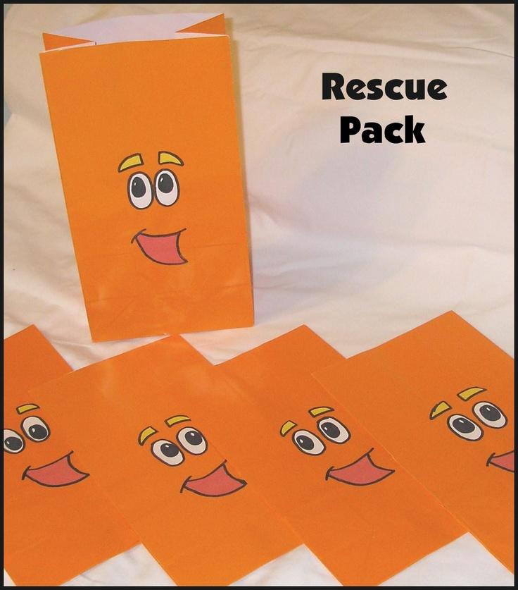 Go Diego Go RESCUE PACK Birthday Party Favor Sacks..Made these for my son's classmates...time-consuming but so cute!
