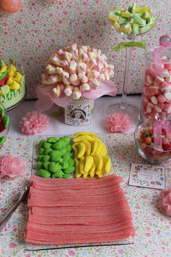 Candy Bar Comunión de Sara, mesa de dulces primaveral #1000detalles1000ideas