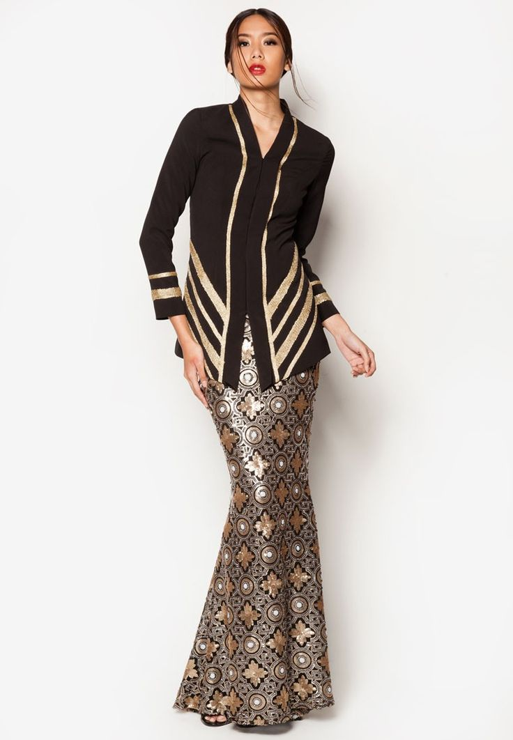 Art Deco Acantha Baju Kurung from Jovian Mandagie for Zalora in black_1