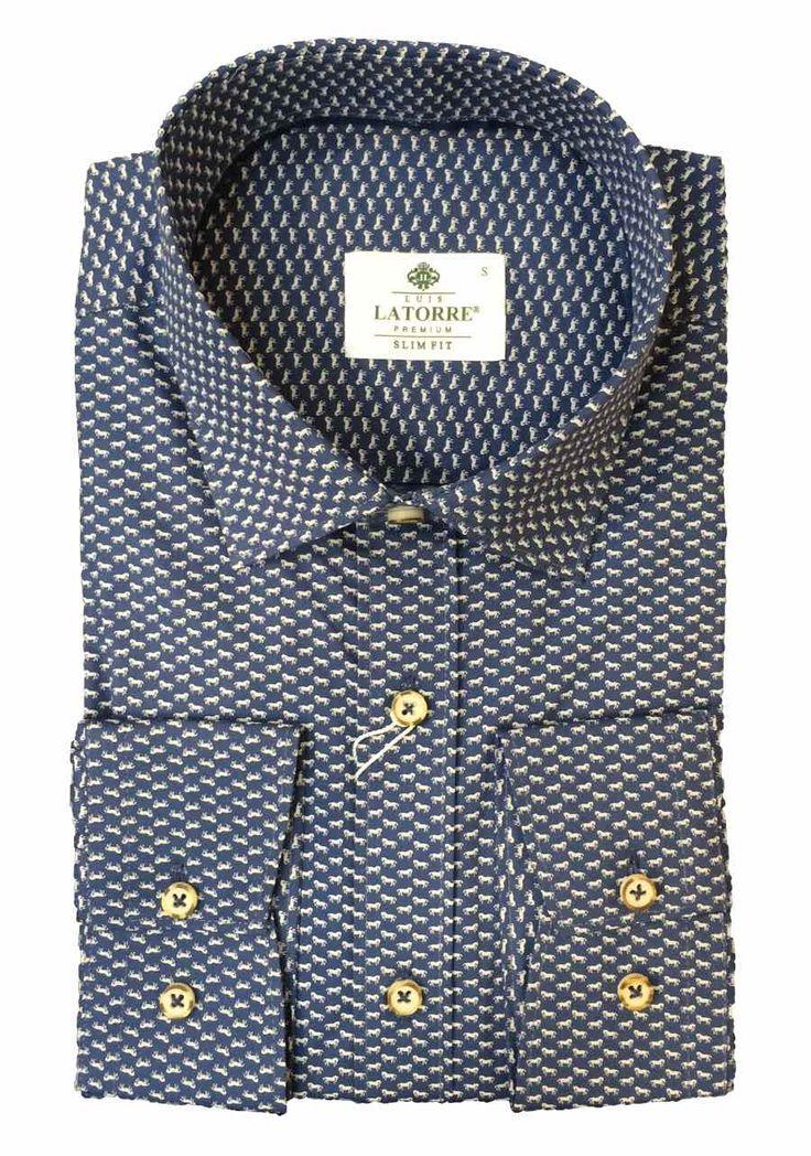 Темно-синяя рубашка с текстурой пони