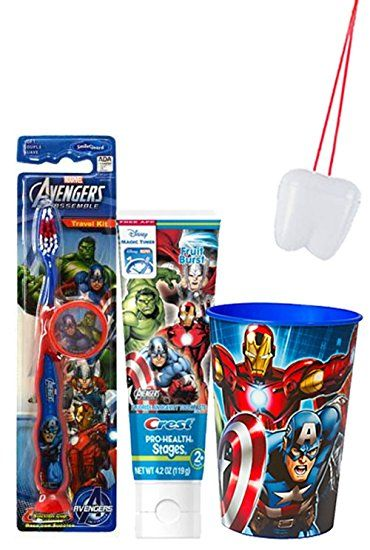 "Marvel Avengers ""Captin America"" Inspired Bright Smile 4pc Oral Hygiene Set! Avengers Manual Toothbrush… Review"