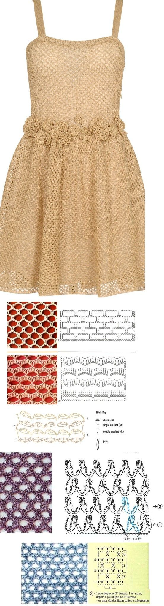 Valentino crochet dress - here are some possible mesh stitches to make it... ♥