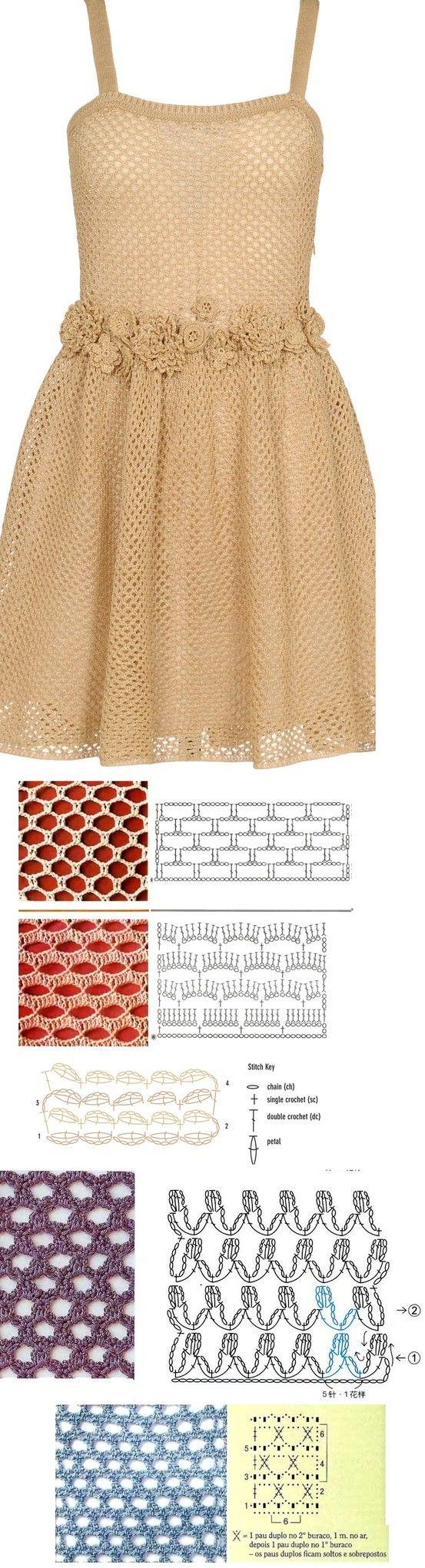Crochet dress pattern with diagram