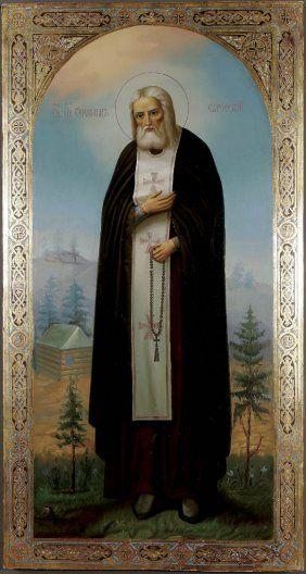 AN IMPRESSIVE RUSSIAN ICON: Saint Seraphim of Sarov, circa 1903. Sold for $17,000