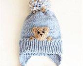 Teddy Bear Hat, Toddler Winter Hat, Kids Hat, Earflap Hat, Pom Pom Hat, Knit Winter Hat, Boys Hat, Cute Girls Outfit, Animal Hat, Bear Hat
