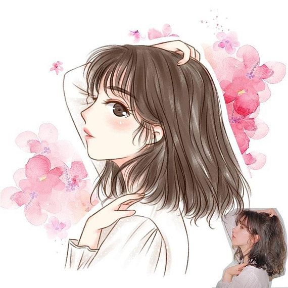 Custom Watercolor Digital Anime Portrait Cartoon Portrait