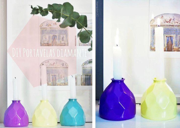 DIY portavelas geométricos diamante con botellas plástico