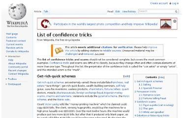 wiki list confidence tricks