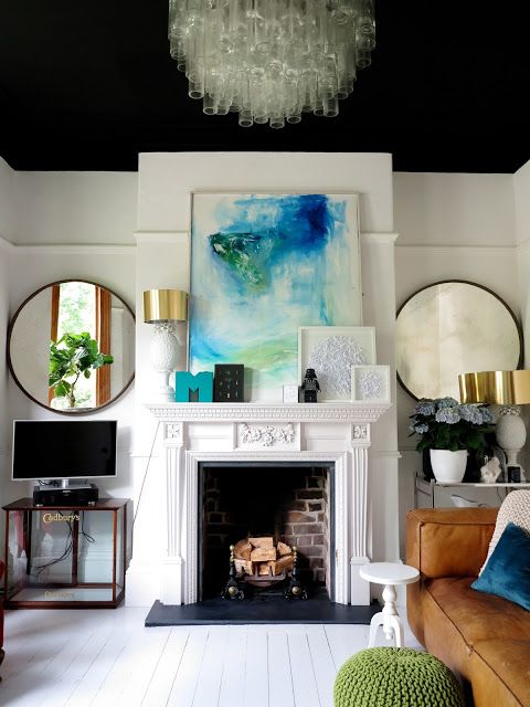 could reverse color scheme with light walls and a dark drama ceiling, fun chandelier, modern artwork
