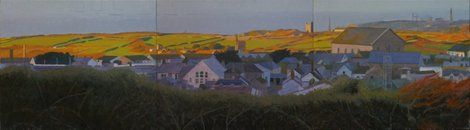 Tom Henderson Smith, Bright fields beyond the town 50 (H) × 180 (W) cms on ArtStack #tom-henderson-smith #art