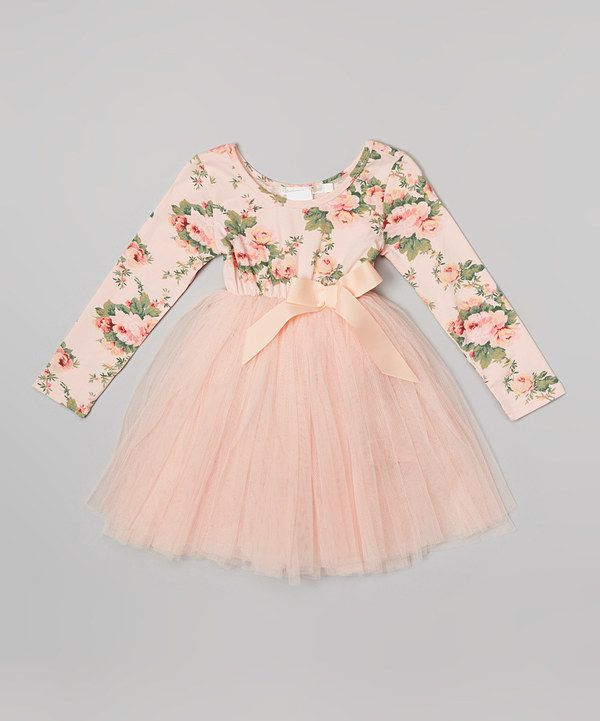 Look at this Designer Kidz Peach Floral Long-Sleeve Tutu Dress - Infant, Toddler
