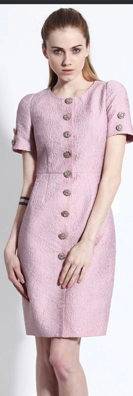 Light Purple Short Sleeves Buttons Dress