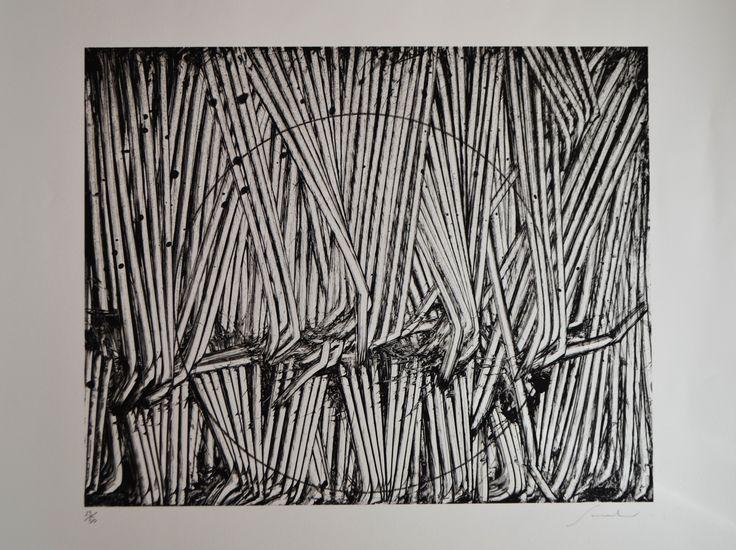 Emilio Scanavino - tramatura con cerchio - lithographie sur carton - 52x72cm