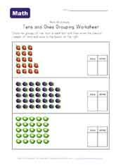 free printable 10's and 1's place value worksheets - Kindergarten