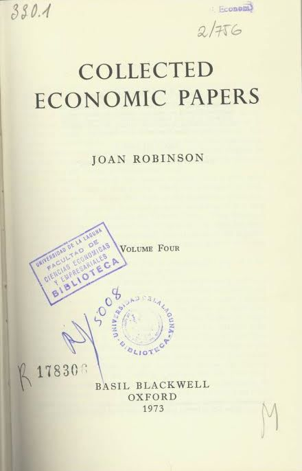 Collected economic papers / Joan Robinson. Oxford : Blackwell, 1973.