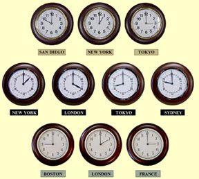 multiple time zone clocks - mahogany