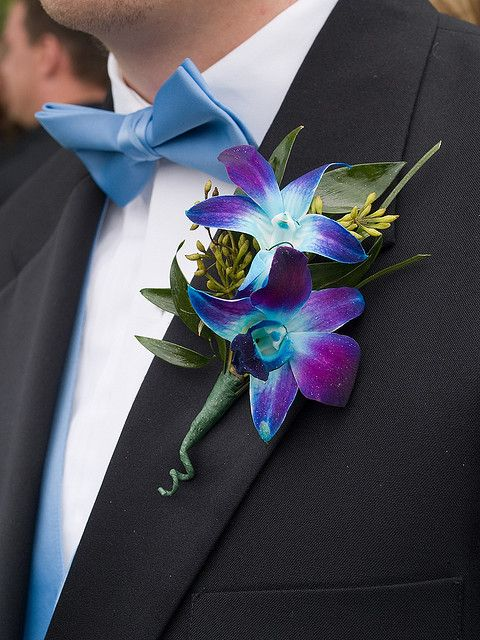 Blue plum dendrobium orchid boutonniere - so pretty! http://www.leighflorist.com #prom #promflowers #prom2014