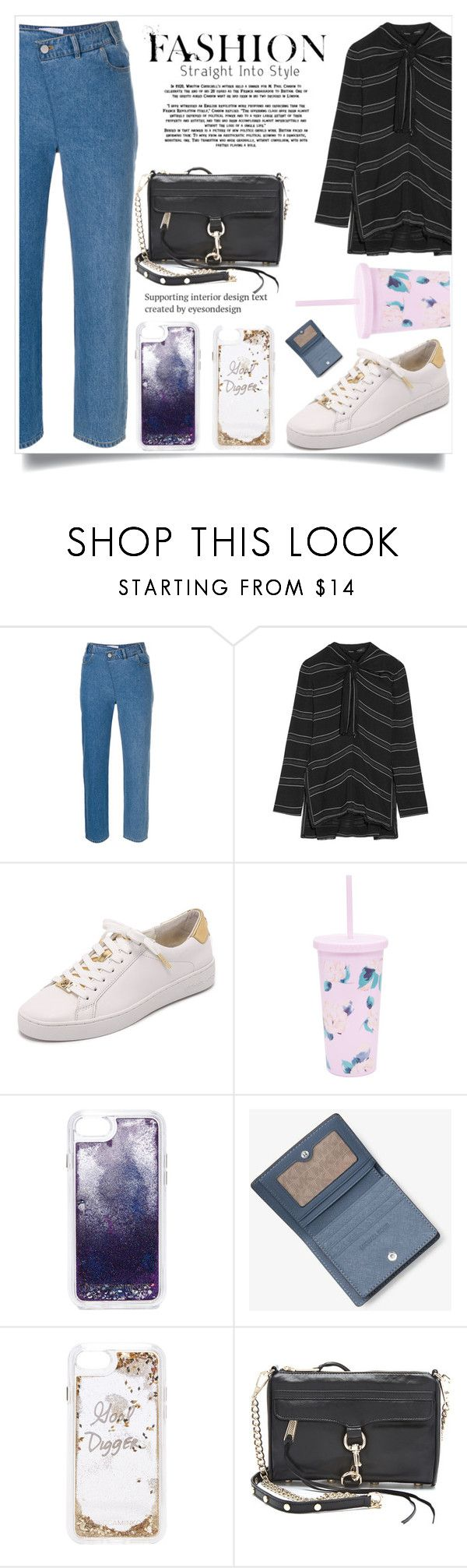 """Knotted Tie-front Striped Crepe Top"" by camry-brynn ❤ liked on Polyvore featuring Christian Wijnants, Proenza Schouler, ban.do and Rebecca Minkoff"