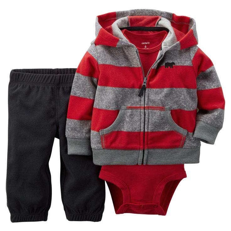 Baby Boy 3-Piece Fleece Cardigan Set | Carters.com