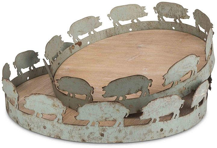 Pig Tray Set Of Two Ad Pigs Trays Pig Decor Pigs Gifts Pot Belly Pigs