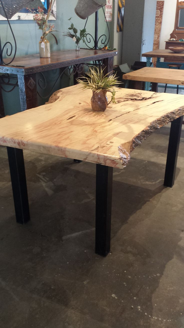 live edge ambrosia maple table tables from reclaimed wood