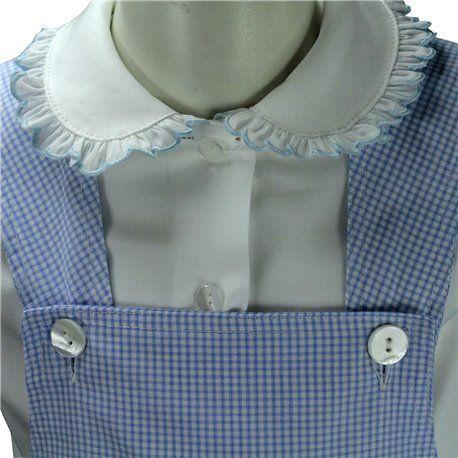 Salopette cotone leggero molto fresco adatta come abbigliamento estivo in abbigliamento con polo o camicia, capo elegante e anche adatto per tutte le occasioni. L'apertura sotto facilita il cambio per i bimbi più piccoli.