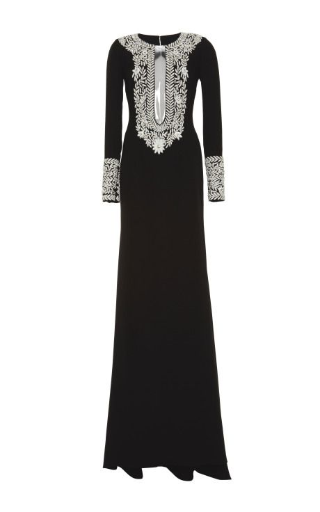 Beaded Illusion Silk Crepe Gown by Naeem Khan