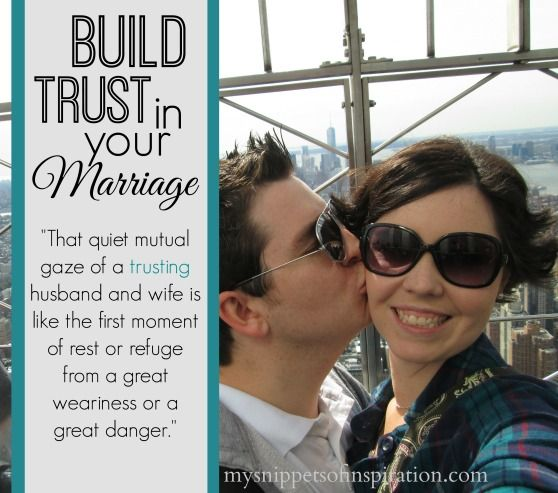 Trust isn't something that is built automatically or immediately. You have to work at it! In my relatively short marriage of two years, I've found that I must be consistent in my words and actions. To build trust in your marriage must be done!
