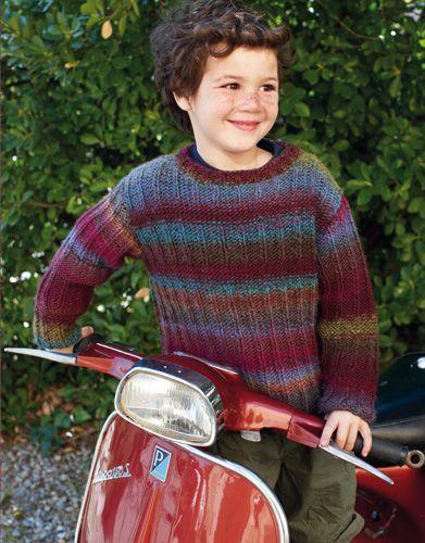 Tijdschrift Speciaal Azteca 4 Herfst / Winter   6: Kinderen Trui   Donker paars-Turquoise-Pistache