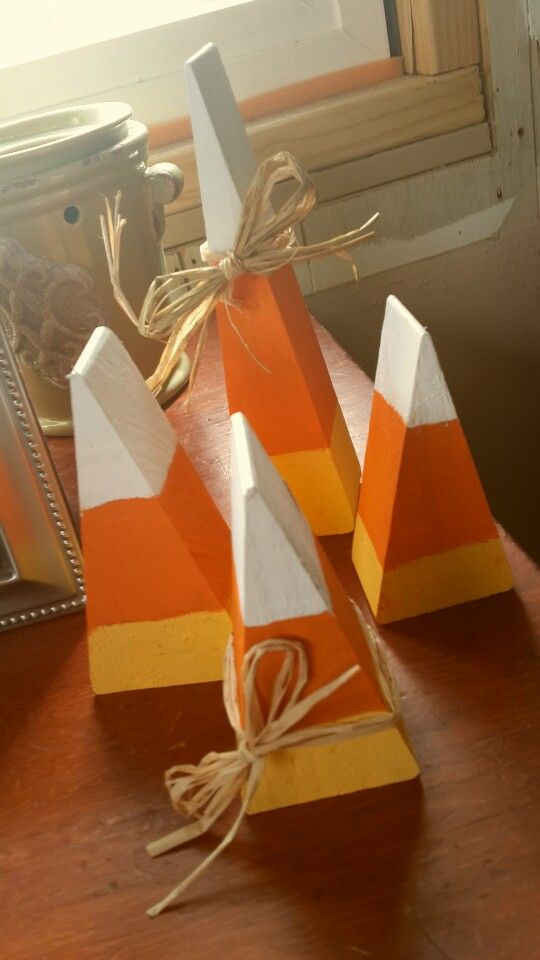 Candy corn wood craft