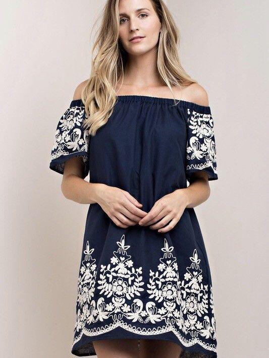 56a83148e3cdfa Kori America Embroidered Dress | eBay. Kori America Embroidered Dress |  eBay Off The Shoulder Tunic, White ...