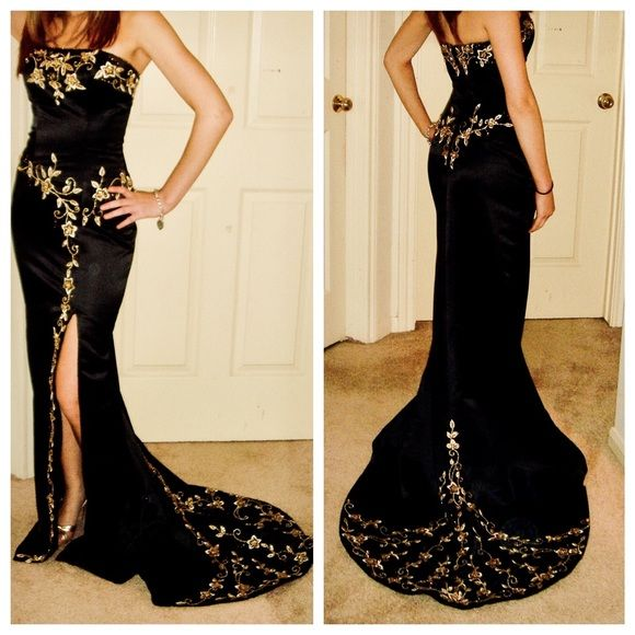 Formal Black & Gold Prom Dress Beautiful strapless prom dress that was worn once for three hours and is in 100% perfect condition. All of the stitching and bead work is in tact. This dress is form fitting, has a mid thigh slit, and small train. The style is very grown up and elegant compared to most tulle-style prom dresses. This was purchased in the prom boutique at a custom bridal shop, Weddings by Debbie. I'm open to reasonable offers and am happy to provide measurements!  Hart n Soul…
