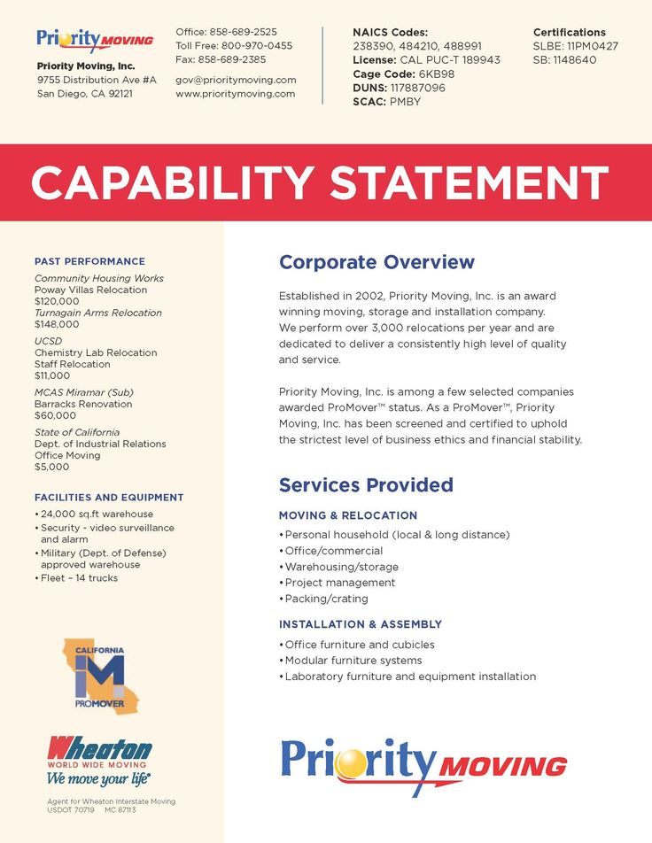 Capability Statement in 2020 Statement template, Word