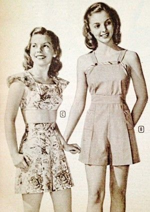 1940s teen summer clothing- playsuit and shortall