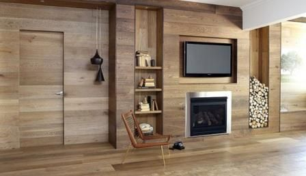 Horizontal natural wood covering everything including doors
