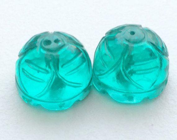 Aqua Green Glass Drops Glass Hand Carved Filigree by gemsforjewels