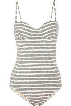 striped stretch cotton swimsuit ▲ j.crew