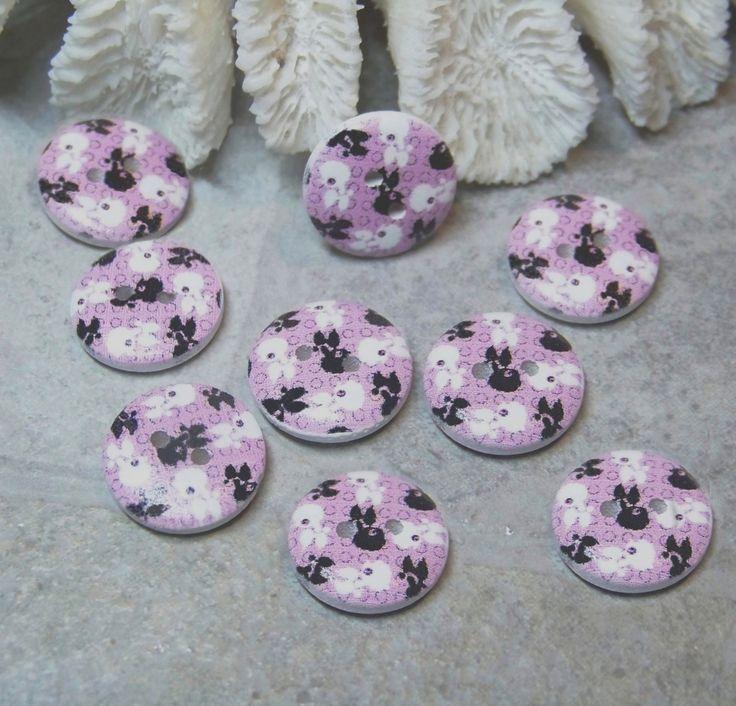 9 boutons bois, 15 mm-couture scrapbooking tricot - Chien, caniche, mauve, blanc et noir- BOU76 : Boutons par kersidan