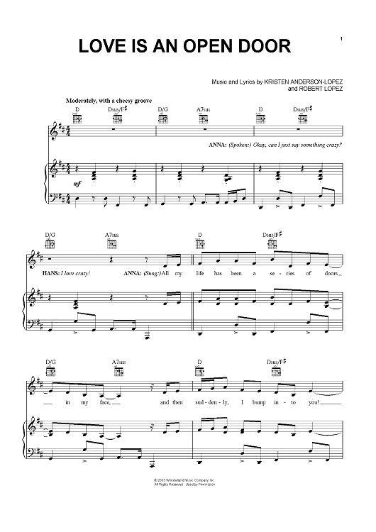 Love Is An Open Door Sheet Music By Robert Lopez Sheet