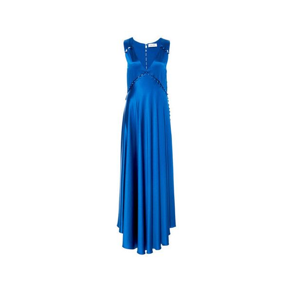 Prabal Gurung     V-Neck Gown ($2,895) ❤ liked on Polyvore featuring dresses, gowns, blue gown, blue evening dresses, blue silk dress, blue silk gown and blue dress
