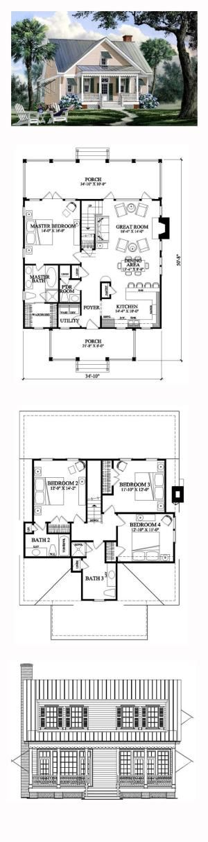 Coastal House Plan 86169 | Total Living Area: 1957 sq. ft., 4 bedrooms and 3 bathrooms. #capecodhome by sonya