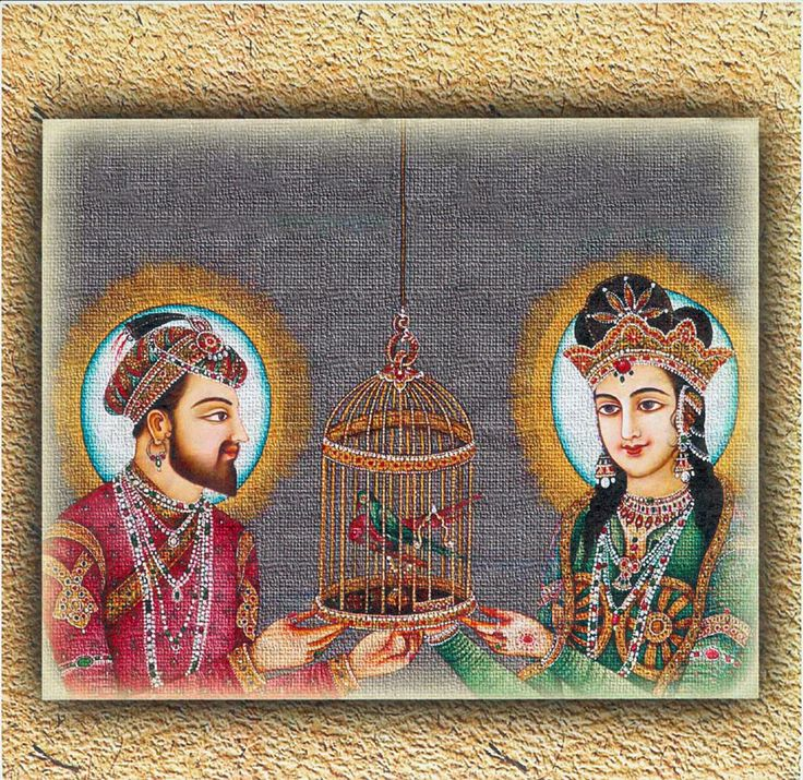 Mughal King Shahjahan and Queen Mumtaz Mahal (Reprint on Card Paper - Unframed)