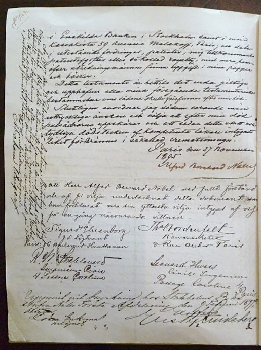 The fourth and last page of Alfred Nobel's will.